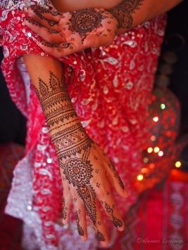 Henna with a Nepali fishtail sari
