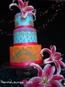 Indian wedding cake with stargazers