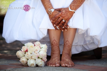 Rich henna and a white dress