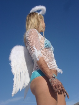 Angelic henna for Burning Man. Photo and model Nina May